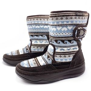 Skechers Tone Ups Blue Brown Sweater Boots